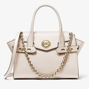 🆕 MK Carmen Small Saffiano Leather Belted Satchel